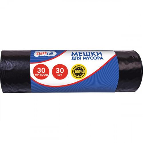 Пакеты для мусора, ПНД, 30 литров, 30 шт/рул, 5,5мкм, черные, 45x54см, CleanLab, тип дна звезда