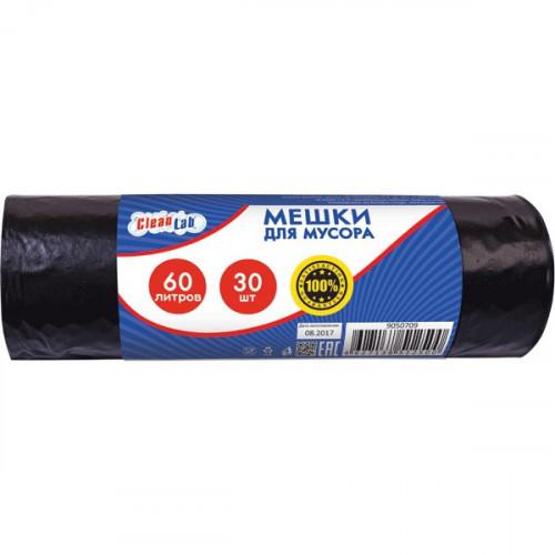 Пакеты для мусора, ПНД, 60 литров, 30 шт/рул, 5,5мкм, черные, 54x62см, CleanLab, тип дна звезда