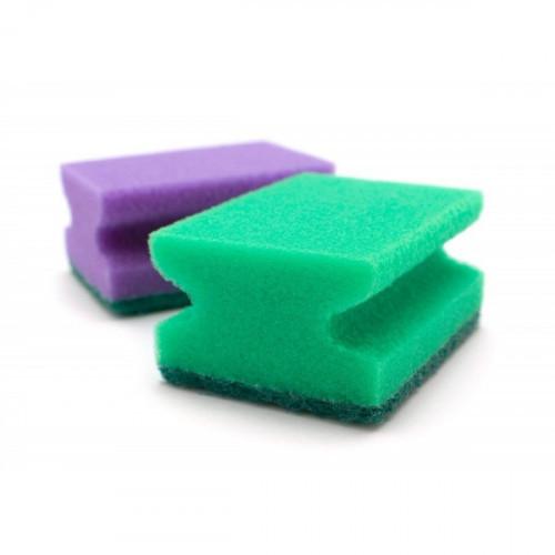 Губка для мытья посуды с выемкой для пальцев 2 штуки в упаковке
