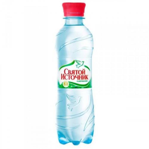 Вода питьевая Святой Источник газированная 0.5 литра 12 штук в упаковке