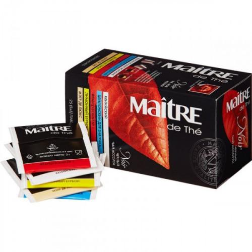 Чай Maitre de tea Noir черный ассорти 25 пакетиков