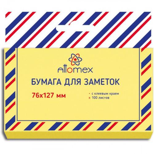 Самоклеящийся блок Attomex, 76x127 мм, 100 листов, офсет 75 г/м, желтая