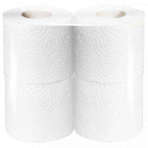 Бумага туалетная 2-слойная белая 8 рулонов, 23м, 100% целлюлоза, в безликой упаковке