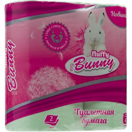 Бумага туалетная 2-слойная Fluffy Bunny Eco 4 рулона зеленая