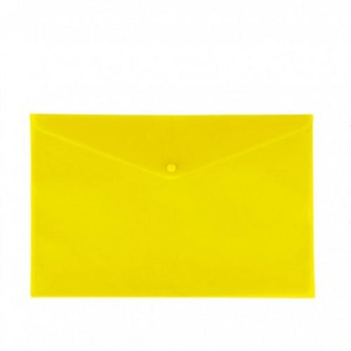 Папка-конверт на кнопке, А4, 180мкм, пластик, желтая, Lamark