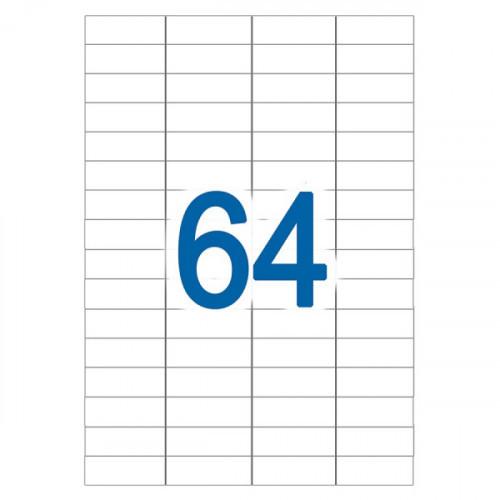 Самоклеящиеся этикетки 48,5х16,9 мм, 64 этикетки, белая, 65 г/м2, 50 л., STAFF, 128842