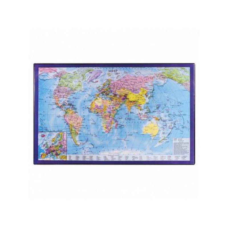 Коврик на стол для письма BRAUBERG, 380х590 мм, с картой мира, 236777