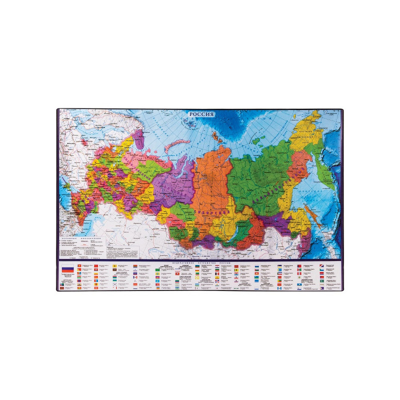 Коврик на стол для письма BRAUBERG, 380х590 мм, с картой России, 236776