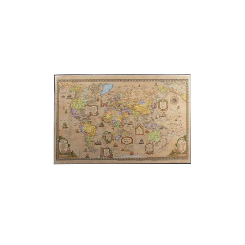 Коврик-подкладка 590х380 мм, с картой мира ретро, ДПС, 2129.С