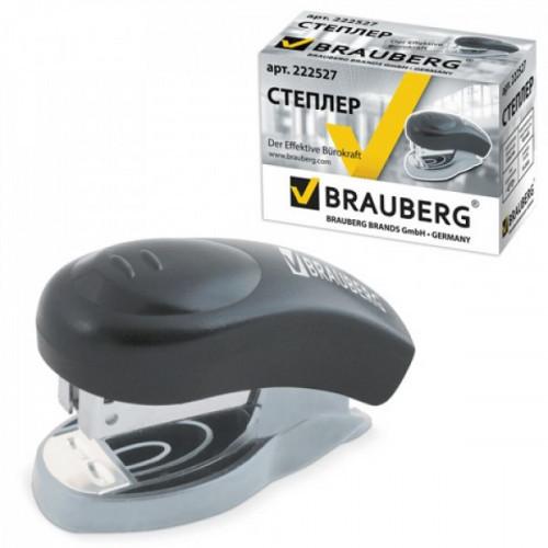 """Степлер BRAUBERG """"Einkommen"""", №24/6 мини, до 8 листов, пластиковый корпус черный 222527"""