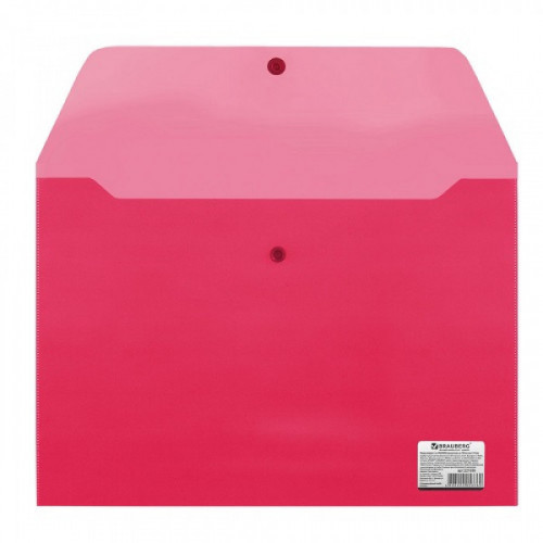 Папка-конверт с кнопкой (однотонный) толщина 0,18, А4 красная BRAUBERG