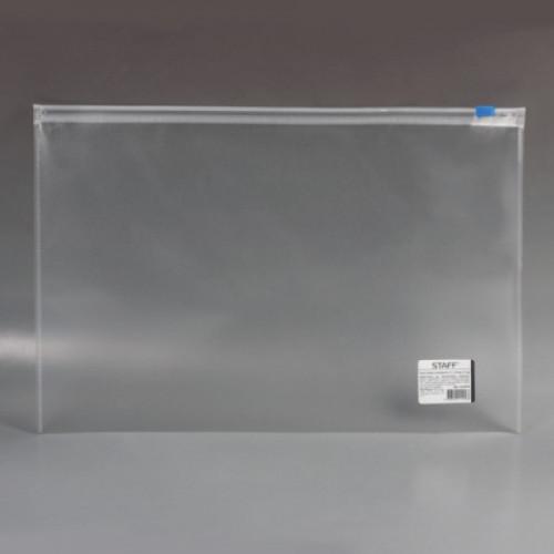 Папка-конверт на молнии STAFF, А4, 230х333 мм, 120 мкм, прозрачная