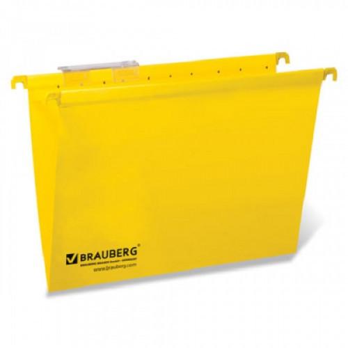 Папка подвесная BRAUBERG А4 до 80 листов желтая картонная (10 штук в упаковке)