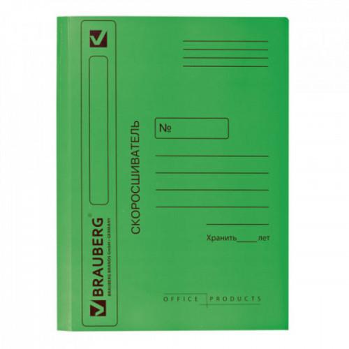 Скоросшиватель картонный BRAUBERG 360 г/м2 зеленый до 200 листов
