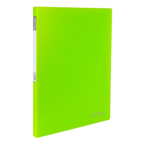 """Папка с пружинным скоросшивателем и внутренним карманом BRAUBERG """"Neon"""", 16 мм, зеленая, до 100 листов, 0,7 мм, 227464"""