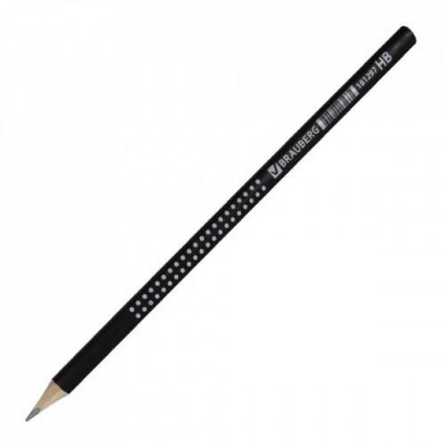Карандаш BRAUBERG Black&White, HB, трехгранный, без ластика, черный с рисунком