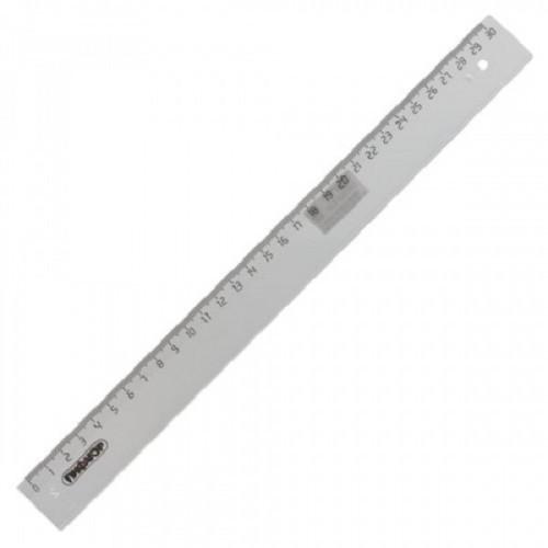 Линейка пластиковая 30 см, ПИФАГОР, прозрачная, бесцветная, 210611