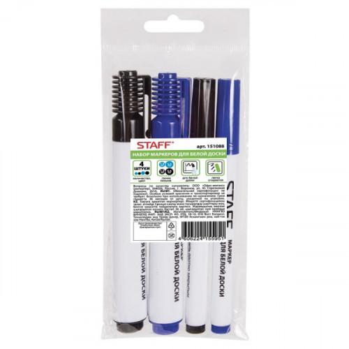 Маркеры для доски, набор 4шт. (черные 1-3 мм, 3-5 мм, синие 1-3 мм, 3-5 мм), круглые, STAFF, 151088