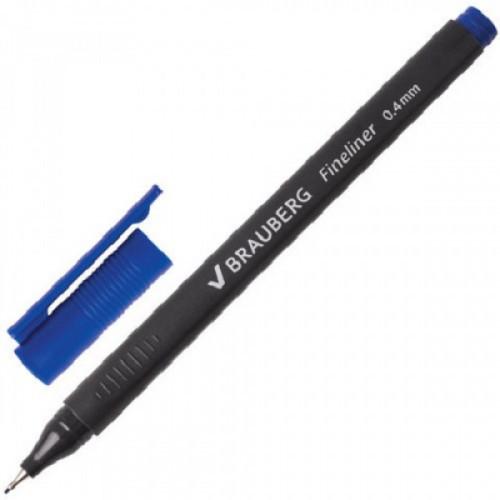 """Ручка капиллярная BRAUBERG """"Carbon"""", металлический наконечник, трехгранная, 0,4 мм, синяя, FL100"""