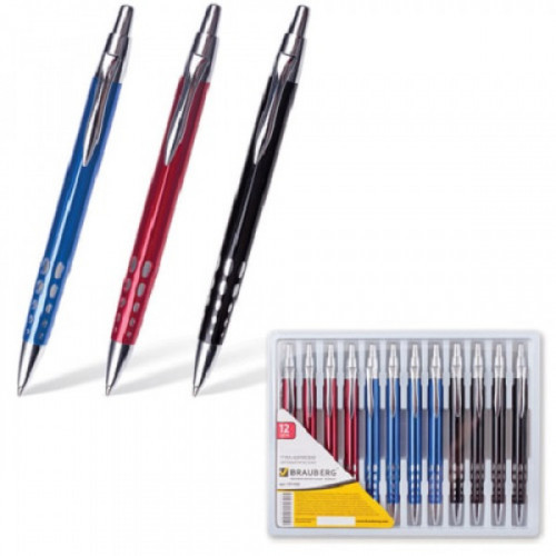 """Ручка бизнес-класса шариковая BRAUBERG """"Frost"""", корпус ассорти, узел 1 мм, линия письма 0,7 мм, синяя, 141430"""