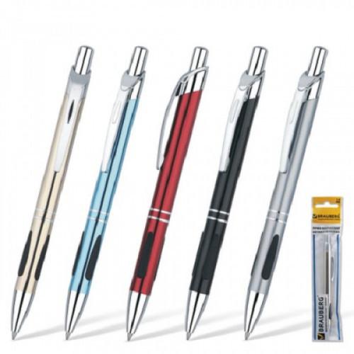 """Ручка бизнес-класса шариковая BRAUBERG """"Minister"""", корпус ассорти, резиновые вставки, узел 1 мм, линия письма 0,7мм, синяя"""