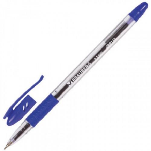 """Ручка шариковая масляная с грипом BRAUBERG """"Glassy"""", СИНЯЯ, корпус прозрачный, узел 0,7 мм, линия письма 0,35 мм, OBP119"""