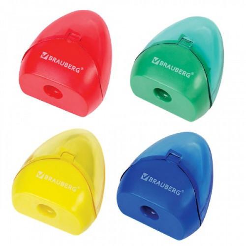 Точилка BRAUBERG BELL с контейнером, пластиковая, конусообразная, цвет корпуса ассорти, 226937