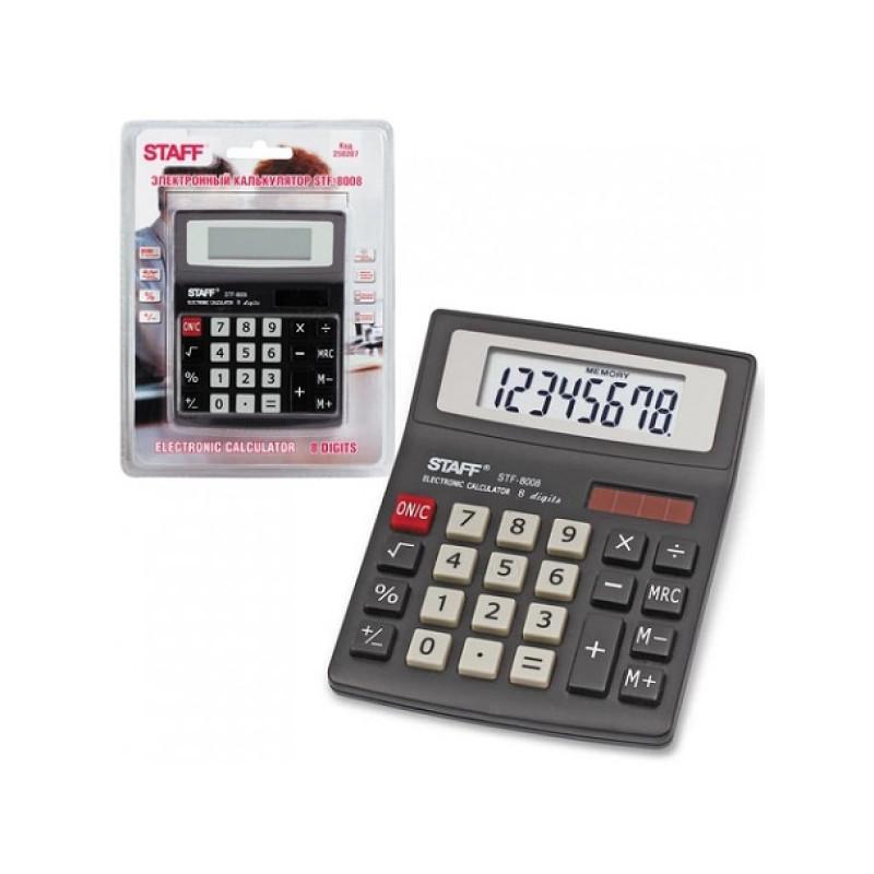 Калькулятор STAFF настольный STF-8008, 8 разрядов, двойное питание, 113х87 мм, блистер, 250207