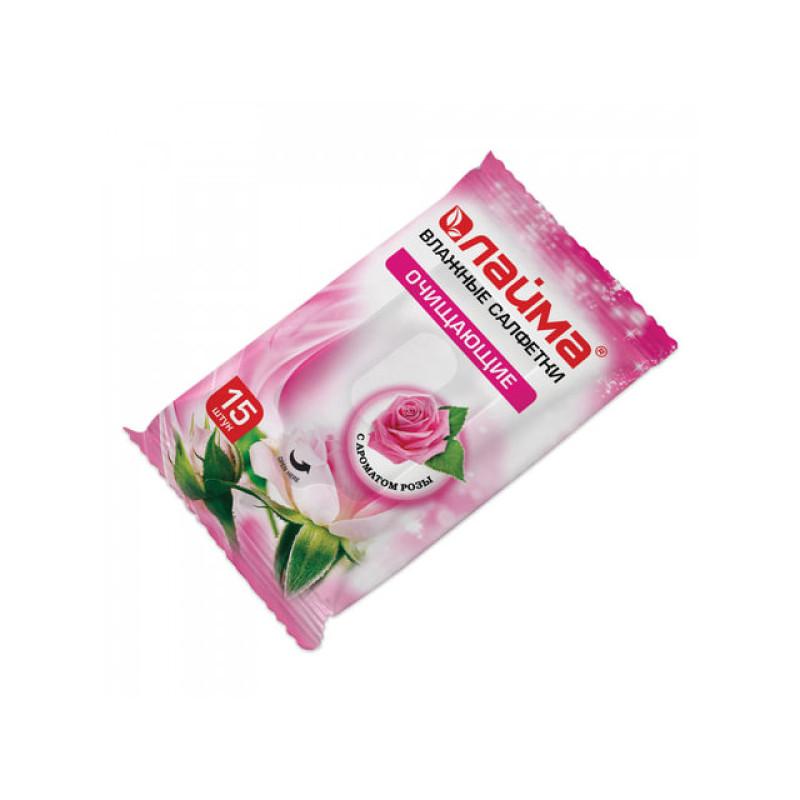Салфетки влажные, 15 шт., ЛАЙМА, универсальные очищающие, с ароматом розы, 125958