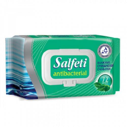 Салфетки влажные антибактериальные, SALFETI Antibacterial, 72 шт.,крышка-клапан