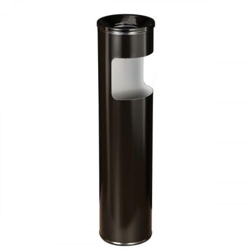 Урна металлическая с пепельницей 10 л, черная, 600х150 мм