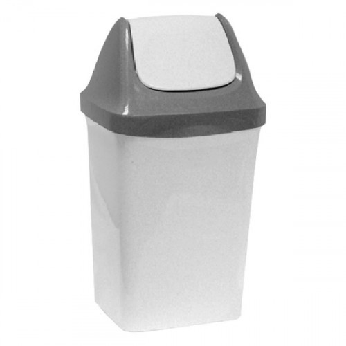 Ведро мусорное 15 л, с качающейся крышкой  47х27х23 см, серое, IDEA Свинг