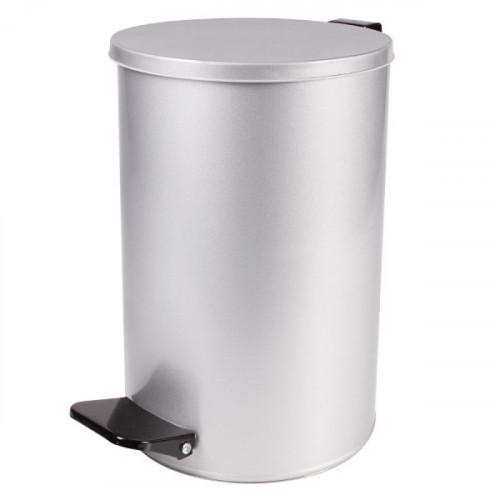 Ведро мусорное с педалью 10 л, кольцо под мешок, серое, оцинкованная сталь, усиленное