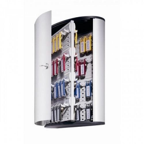Шкафчик для ключей Durable 1955-23 на 72ключ. 302x400x118мм комппл.6 брелков серебристый алюминий