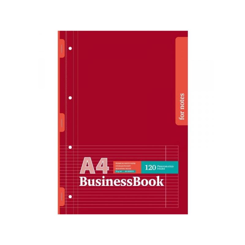 Блокнот Офис 3 А4 60 листов бордовый в линейку на скрепке