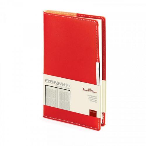 Еженедельник недатированный Bruno Visconti Metropol искусственная кожа A6 80 листов красный (102x177 мм)