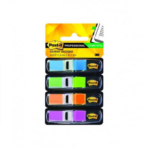 Закладки клейкие Post-it пластиковые 4 цвета по 35 листов 11.9х43.1 мм в диспенсерах
