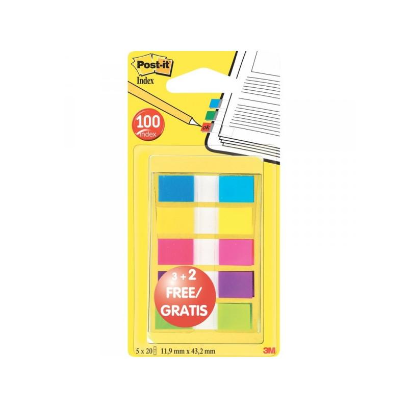 Закладки клейкие Post-it пластиковые 5 цветов по 20 листов ширина 12 мм