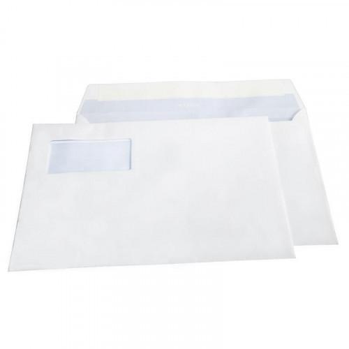 Конверт белый С4 стрип левое окно Master/Business Post 229х324 мм 250 штук в упаковке