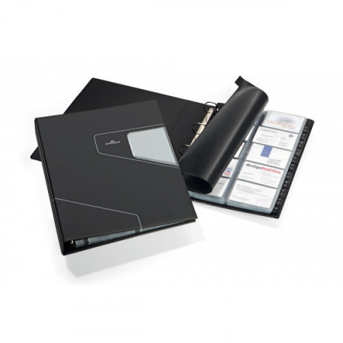 Визитница настольная Durable Visifix Pro искусственная кожа на 400 визиток черная