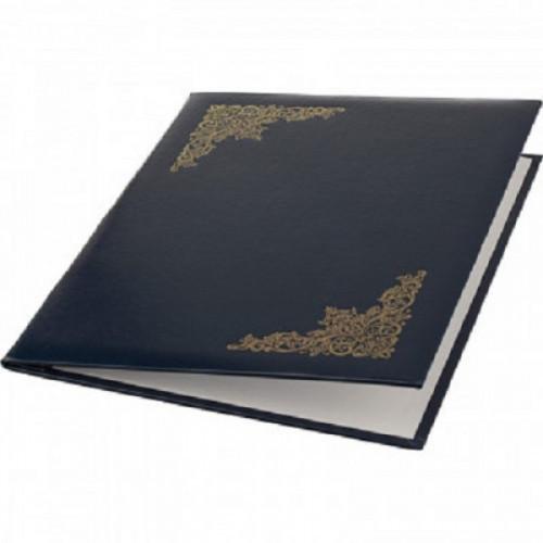 Папка адресная с ВИНЬЕТКОЙ бумвинил с поролоном синяя