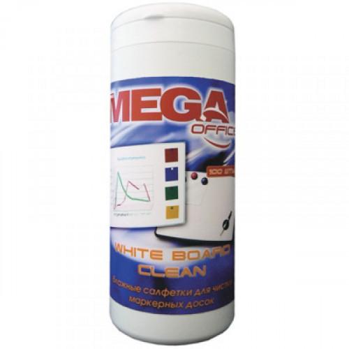 Салфетки для чистки белых маркерных досок Mega Office White Board Clean 100 штук вискоза