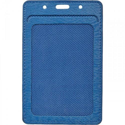 Бейджик вертикальный ProMega Office мягкий синий для карточек 74x105 мм