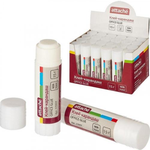 Клей-карандаш 15г, PVA-основа, бесцветный, Attache Office Glue