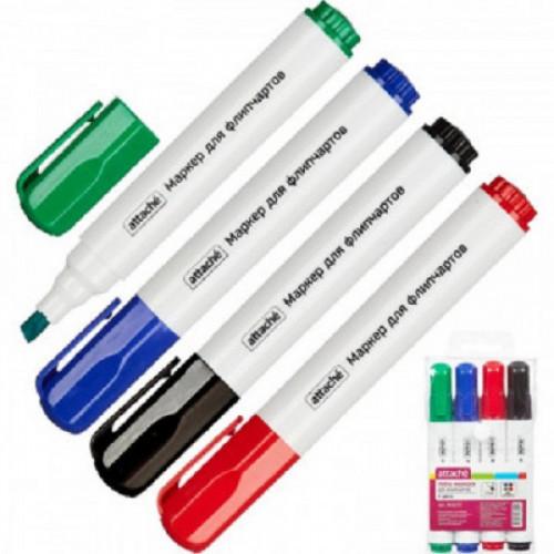 Набор маркеров для флипчартов ATTACHE набор 4цв., 2-3мм скошенный наконечник