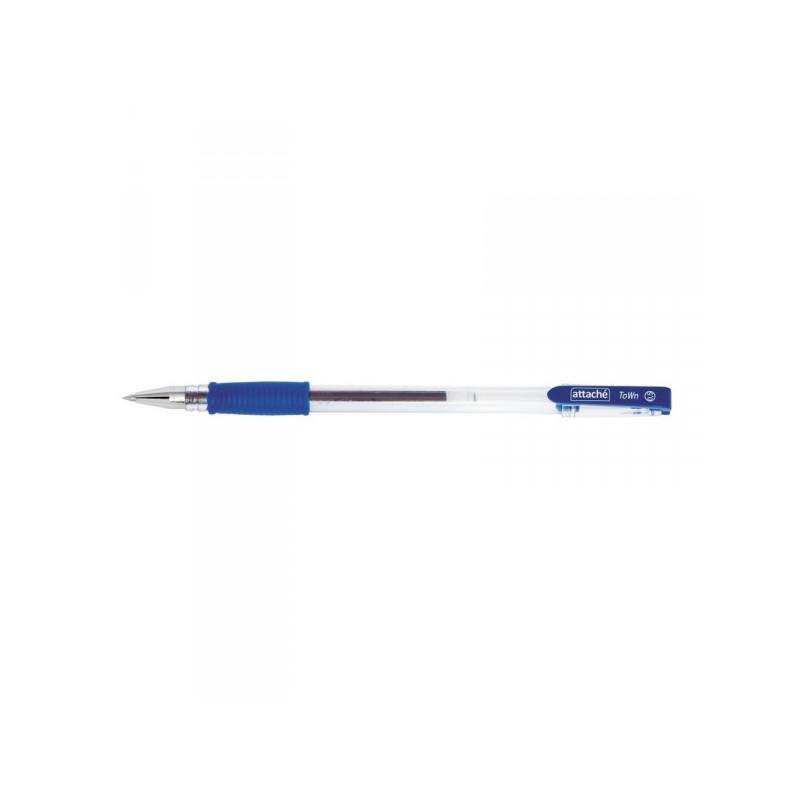 Ручка гелевая Attache Town синяя с толщиной линии 0,5 мм с резиновой манжеткой