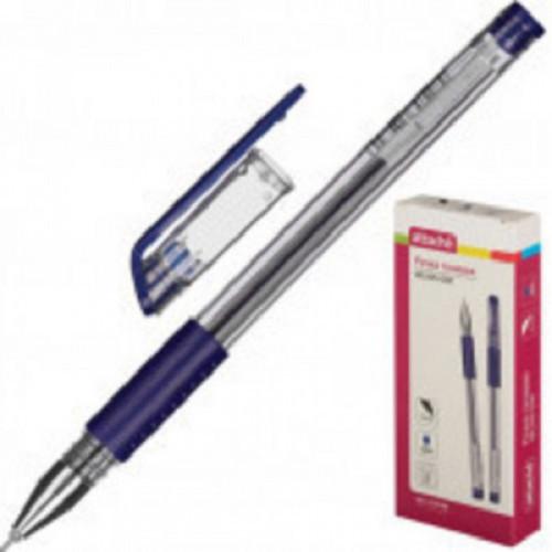 Ручка гелевая Attache Gelios-030 резин манж. синий стерж, игольчатый, 0,5мм