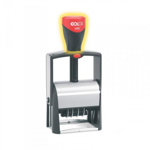 Датер автоматический самонаборный металлический Colop S2660 Bank Set F 37х58 мм 4/6 строк