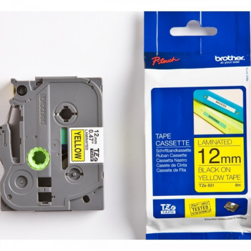 Картридж к принтеру Brother TZ/TZe-631 12 мм х 8 м,черный/желтый пластик