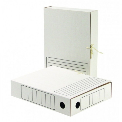 Папка архивная Attache картон белая А4 корешок 78 мм 2 завязки
